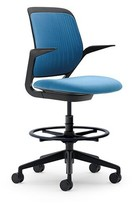 Steelcase Cobi Drafting Chair Upholstery Color: Blue Jay, Frame Finish: White, Seat Fabric Color: Connect - Blue Jay