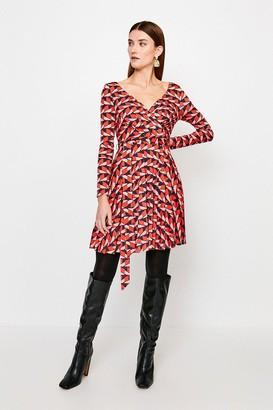Karen Millen Slinky Wrap Front Jersey Dress