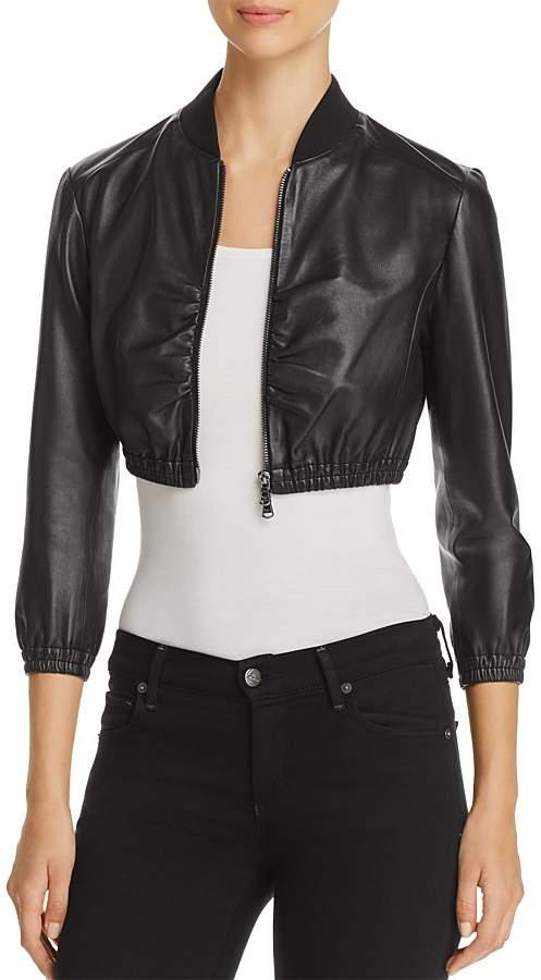 Emporio Armani Cropped Leather Bomber Jacket