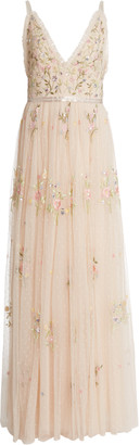 Needle & Thread Petunia Floral-Embroidered Tulle Gown