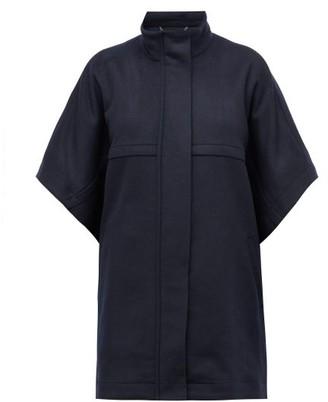 Stella McCartney Logo Jacquard-trim Wool Cape - Womens - Navy