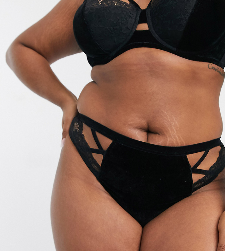 Asos DESIGN Curve Victoria velvet thong with lace