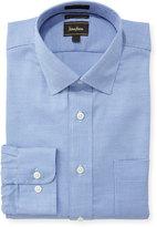Neiman Marcus Luxury TechClassic-Fit Micro-Check Dress Shirt, Blue