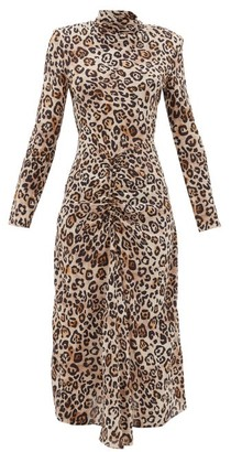 Raey Exaggerated-shoulder Leopard-print Silk Dress - Womens - Brown Print