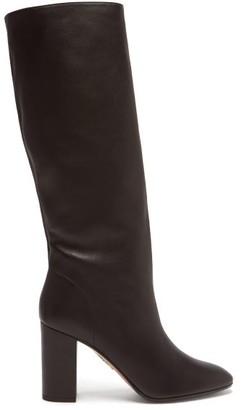 Aquazzura Boogie 85 Block-heel Leather Boots - Black