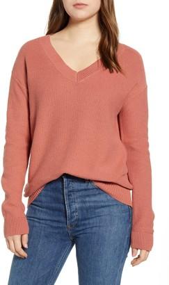 Caslon V-Neck Cotton Seed Stitch Sweater