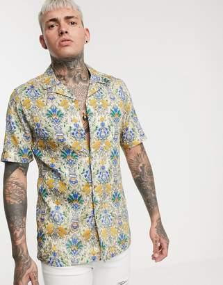Asos Design DESIGN regular fit foil print geo-tribal shirt-Gold