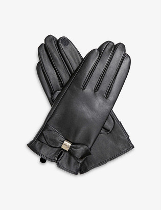 Dents Touchscreen bow-detail leather gloves
