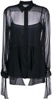 Alberta Ferretti sheer sleeve tie blouse
