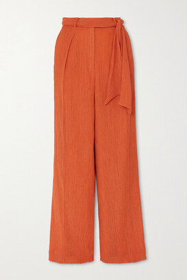 Gabriela Hearst Thomazia Plisse Cotton And Silk-blend Wide-leg Pants - Orange