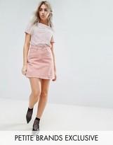 Urban Bliss Petite Distressed Denim Skirt In Pink