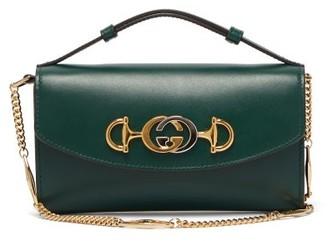 Gucci Zumi Logo-plaque Leather Cross-body Bag - Dark Green