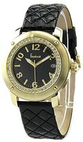 Freelook Women's HA1812G-1 Black Leather Band Matt Black Dial Gold Case Watch