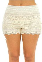 TD Collections TD Women's Fitted Scallop Hem Crochet Lace Mini Shorts (Plus Size)