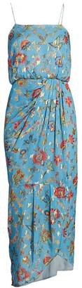 Derek Lam 10 Crosby Lexi Metallic Floral Wrap Dress