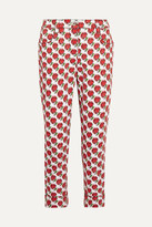 Prada Cropped Printed Mid-rise Slim-leg Jeans - Red