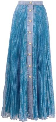 Philosophy di Lorenzo Serafini Pleated Denim-Trimmed Skirt