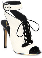 Brian Atwood Snakeskin Open-Toe Lace-Up Ankle Boots