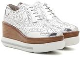Miu Miu Metallic Leather Platform Oxford Shoes