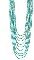 Spring Street Turquoise Metal Multi-Layer Seed Bead Necklace