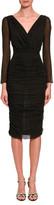 Dolce & Gabbana Ruched-Mesh Long-Sleeve Midi Dress