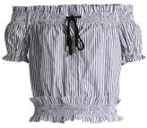 Caroline Constas Off-the-shoulder striped cotton-oxford top