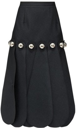 Christopher Kane Dome-embellished Cloque Midi Skirt - Womens - Black