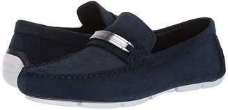 Calvin Klein Kolton (Dark Navy Hatched Embossed Calf Suede) Men's Slip on Shoes