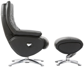 World Source Design Ceylon Contemporary Manual Recliner Chair Chair With Ottoman, Black