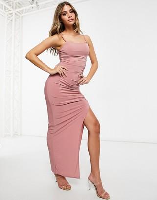 Club L London Club L maxi dress with split in pink