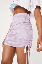 Thumbnail for your product : Nasty Gal Womens Ruched Side Satin Animal Mini Skirt - Purple - L