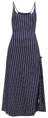 Solid & Striped Side-slit Striped Jersey Dress - Womens - Navy Stripe