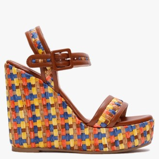 Albano Dover Multicoloured Woven Wedge Sandals
