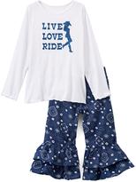 Beary Basics White & Navy 'Live Love' Tee & Ruffle Pants - Toddler & Girls