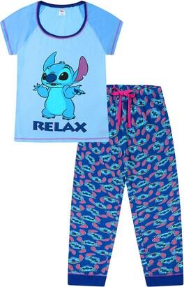 Disney Lilo and Stitch Relax Light Blue Long Ladies Pyjamas (8-10)