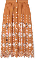 Miguelina Carolyn Broderie Anglaise-trimmed Cotton Midi Skirt - Orange