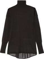 J Brand Clinton crepe-paneled merino wool turtleneck sweater