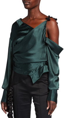 Hellessy Whitcomb Off-Shoulder Silk Tassel Blouse