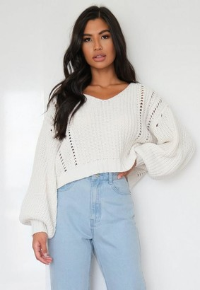 Missguided Cream Oversized V Neck Cropped Sweater
