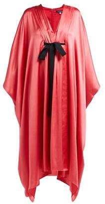 Andrew Gn Malovich Bow-embellished Silk-satin Kaftan Dress - Pink
