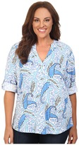 Fresh Produce Plus Size Paisley Dockside Henley