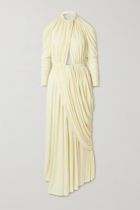 Proenza Schouler Open-back Cutout Draped Jersey Maxi Dress - Pastel yellow