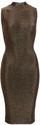 RtA Bandit Metallic Sleeveless Midi Bodycon Dress
