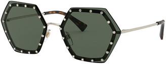 Valentino Crystal Lined Rimless Hexagon Sunglasses