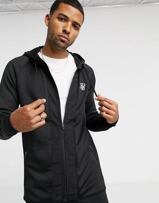 SikSilk creased zip through hoodie in black