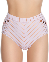Betsey Johnson Blush & Copper Foil Shimmer Stripe Hi-Waist Bikini Bottoms