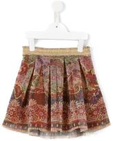 Quis Quis printed pleated tulle skirt