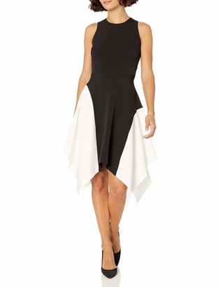Maggy London Women's Petite Mystic Crepe Sleeveless Color Block Fit and Flare