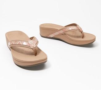 Vionic Platform Leather Thong Sandals - High Tide Chevron
