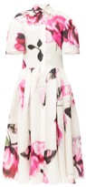 Carolina Herrera Rose-print Silk-gazar Midi Shirtdress - Womens - Pink White